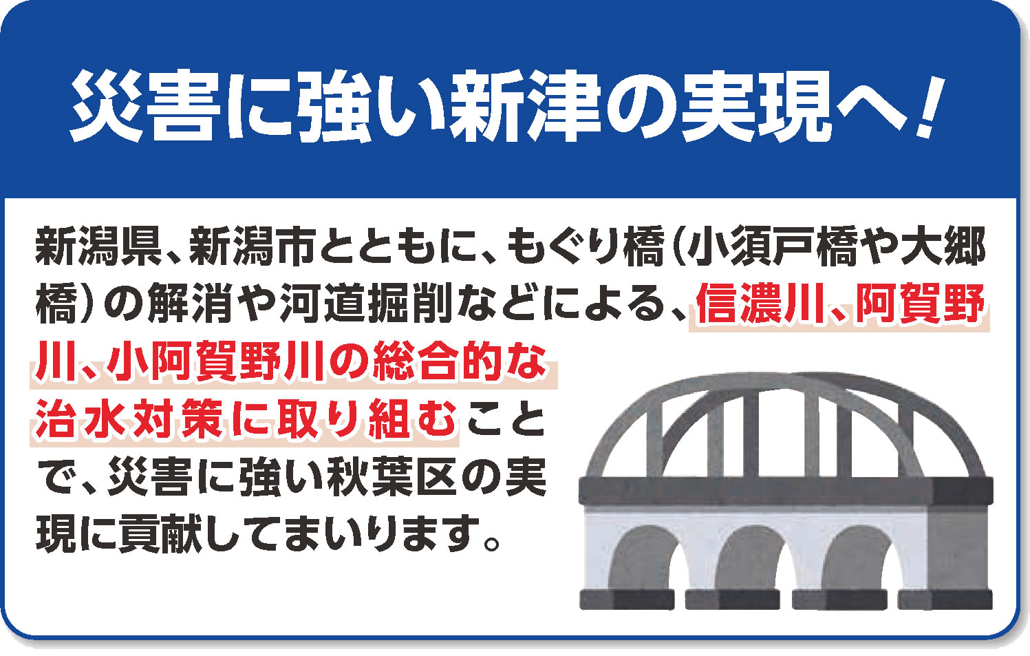 災害に強い新津の実現へ!